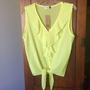 🍋 Yellow ruffle sheer blouse. Large🍋